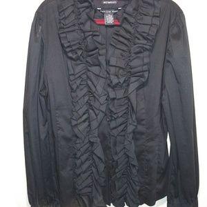 Antilla Femme black ruffle blouse Sz XL